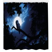 Night Shower Curtain, Quiet Night in the Woods Full Moon Tall Trees and Owl on Branch Tranquil Scene, Fabric Bathroom Set with Hooks, Black Blue White, by Ambesonne