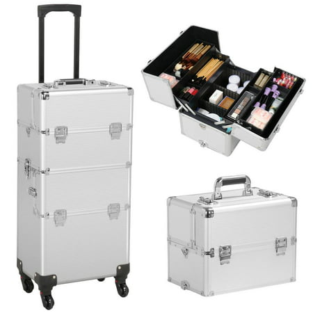 Pro Aluminum Rolling Makeup Case Salon Cosmetic Box Organizer Trolley Train