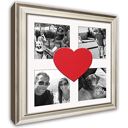 Heart Collage Picture Frame - Silver Wood Frame With Heart Shaped Inlay Mat for Four 4x4 photos, Wood fashion frame By - Picture Inlay