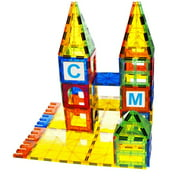 Mag-Genius building Magnet Tiles 3D Brain Building Blocks Set of 120 Pieces Includes 13 New Plastic Fun Clickins Includes 2 Cars And Free Storage Bin