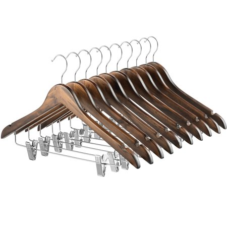 ShopoKus High-Grade Wooden Suit Hangers Skirt Hangers with Clips (10 Pack) Solid Wood Pants Hangers with Durable Adjustable Metal Clips, 360° Swivel Hook, Shoulder Notches for Dress, Jackets, Blouse ()