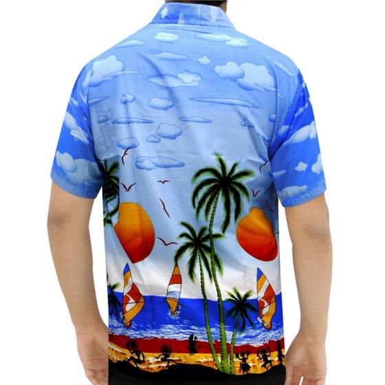 e697a805a LA LEELA - LA LEELA Likre Men's Hawaiian Shirt Bright Blue 249 X ...