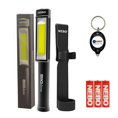 BUNDLE: Nebo Big Larry COB LED Work Light BLACK SILVER RED CAMO or PATRIOTIC with Holster and LightJunction KeyChain Light
