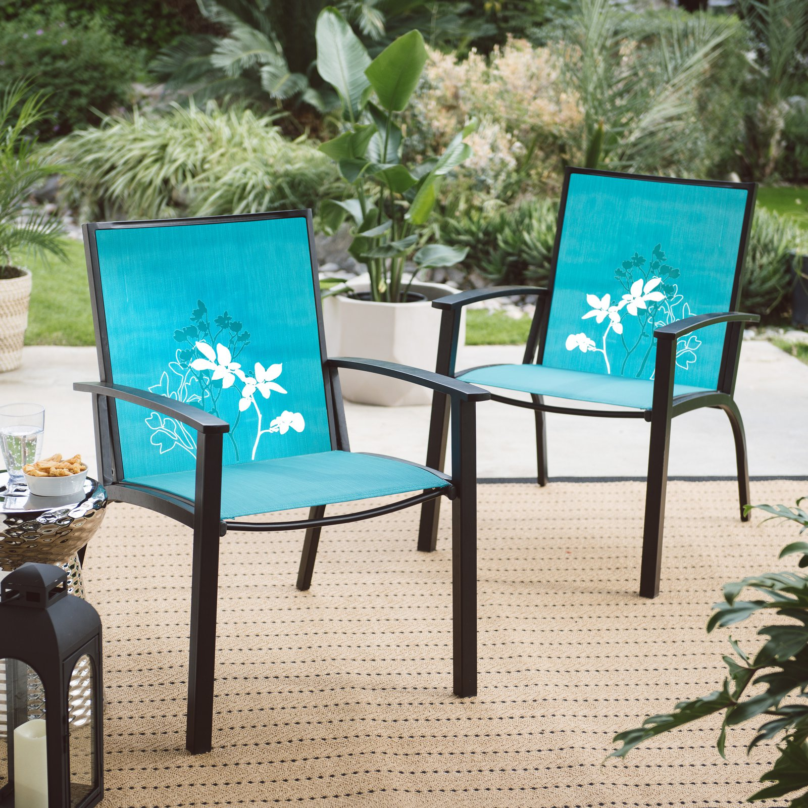 Coral Coast Darci Patio Sling Chair with Flower Print - Set of 2