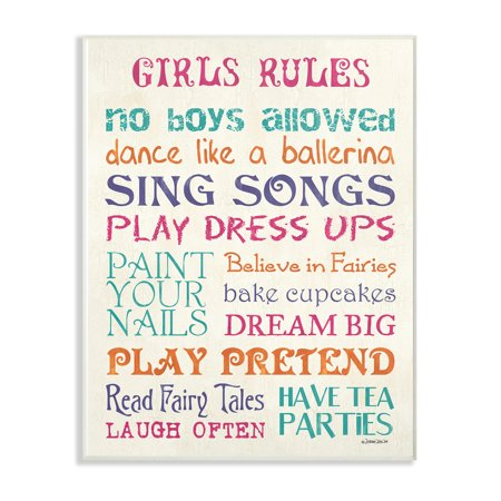 The Kids Room by Stupell Pink Teal Orange and Purple Girls Rules Oversized Wall Plaque Art, 12.5 x 0.5 x 18.5 - Teal And Purple