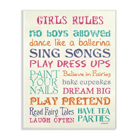The Kids Room by Stupell Pink Teal Orange and Purple Girls Rules Oversized Wall Plaque Art, 12.5 x 0.5 x 18.5 - Pink And Purple Room Ideas
