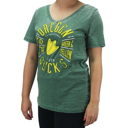 Creative Apparel Women Ncaa Oregon Ducks V Neck T Shirt Go Ducks Green   Yellow