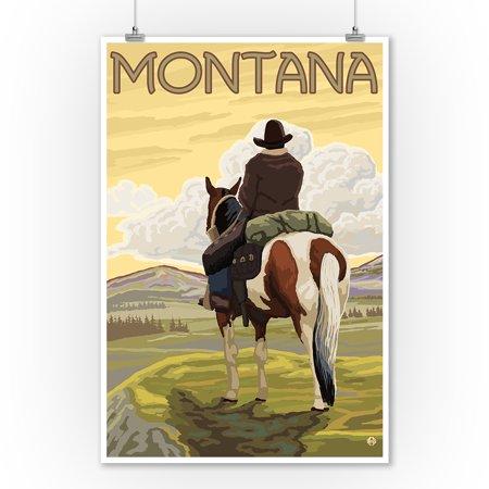 - Montana - Cowboy & Horse - Lantern Press Artwork (9x12 Art Print, Wall Decor Travel Poster)