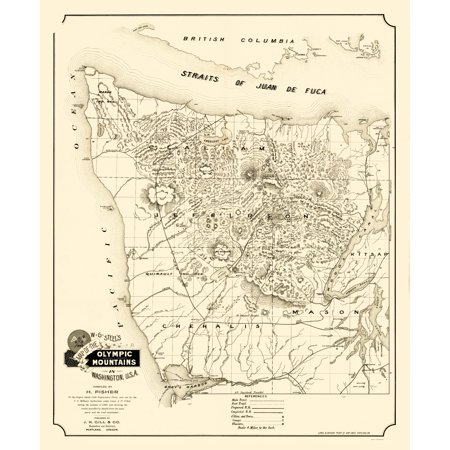 Old State Map Olympic Mountains Washington Gill 1890 23 X