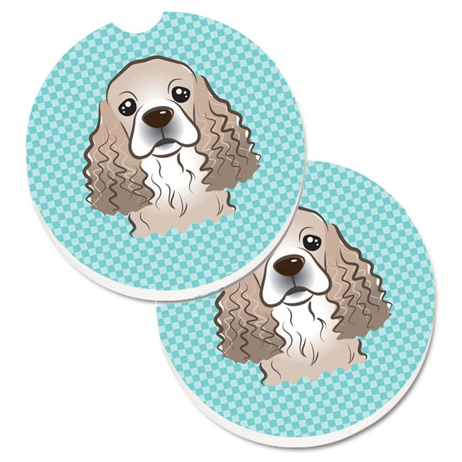 Carolines Treasures BB1278CARC Checkerboard Lime Green Cocker Spaniel Set of 2 Cup Holder Car Coaster - image 1 de 1