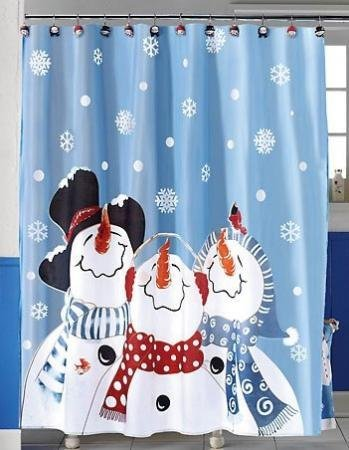 Frosty The Snowman And Friends Fabric Shower Curtain Christmas Holiday Bathroom  Decor NEW By CE