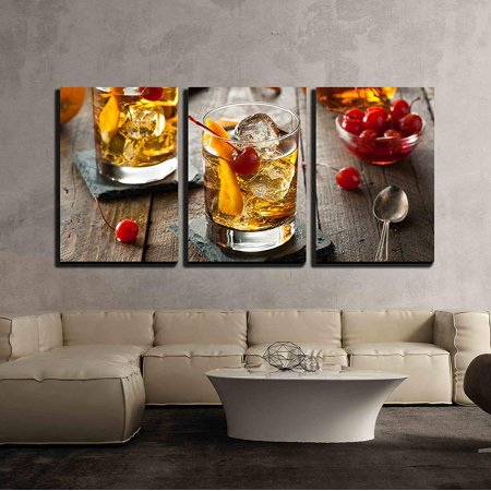 wall26 - 3 Piece Canvas Wall Art - Homemade Old Fashioned Cocktail with Cherries and Orange Peel - Modern Home Decor Stretched and Framed Ready to Hang - 24
