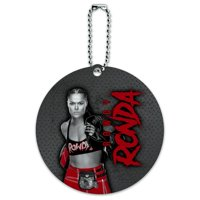 WWE Ronda Rousey Rowdy Text Round Luggage ID Tag Card Suitcase Carry-On