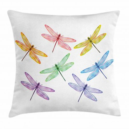 Dragonfly Throw Pillow Cushion Cover, Illustration of Fantasy Bugs with Colorful Striped Spring Season Wings Pattern, Decorative Square Accent Pillow Case, 18 X 18 Inches, Multicolor, by Ambesonne
