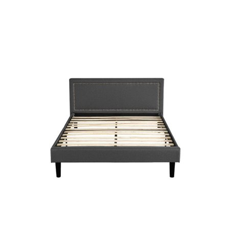 Swell Classic Deluxe Linen Low Profile Platform Bed Frame With Nailhead Trim Headboard Design Twin Dark Grey Machost Co Dining Chair Design Ideas Machostcouk