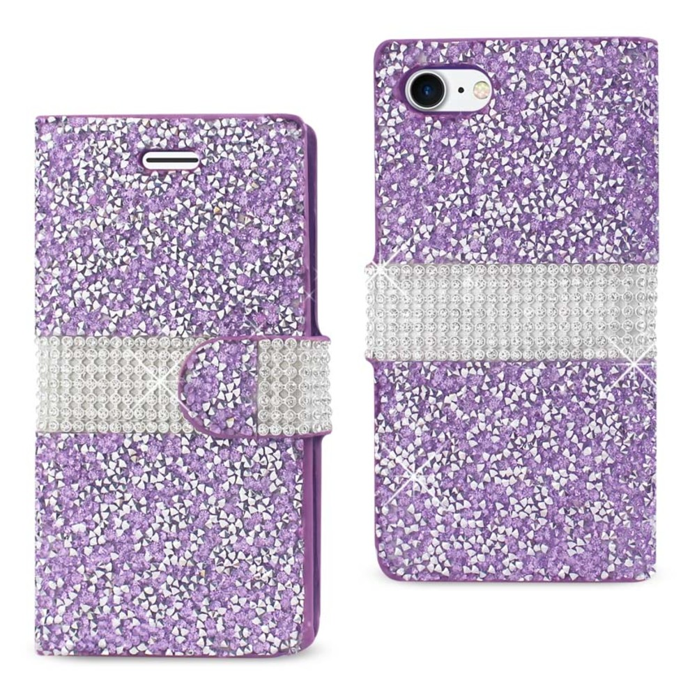 REIKO IPHONE 7 DIAMOND RHINESTONE WALLET CASE IN PURPLE