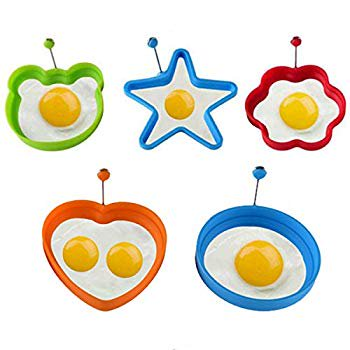 Egg Ring- Fried Egg Mold, 5pcs Different Shapes Silicone Egg Poacher, Non Stick Pancake Shaper Mold With Handles