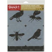 Stencil1 Set 4/Pkg-Bird & Bees Theme