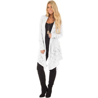2018 Women's Fashion Lace Patchwork Long Sleeve Casual Pure Color Cardigan Coat Plus Size S-5XL