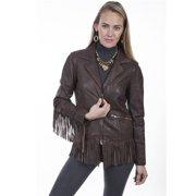 Scully L221 73 L Womens Dark Brown Rugged Lamb Fringe Jacket, Large