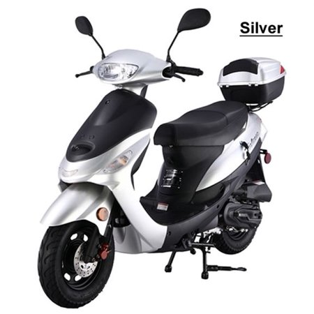 Silver TAOTAO ATM50-A1 50cc Moped Scooter with 10
