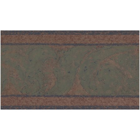 Prepasted Wallpaper Border - Abstract Green on Brown Wall Border Retro Design, Roll 15 ft. x 9 in.