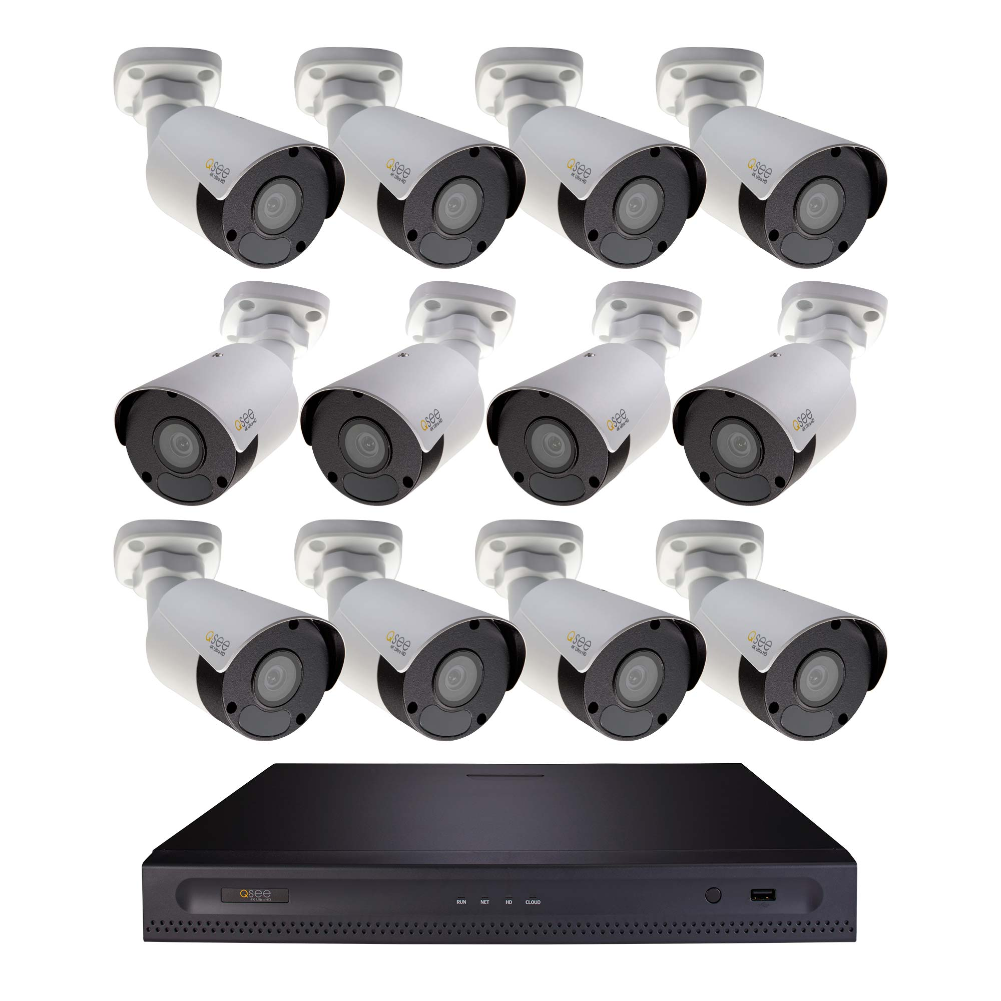 Q-See 16 Channel 4K Ultra HD NVR with 4TB HDD and 12x 4K IP HD Bullet Cameras (H164K1.12)
