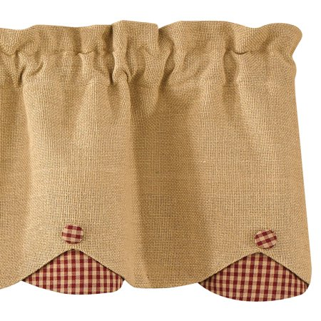 Burlap and Check Scalloped Curtain Valance by Park Designs Black or (Tan Check Grid)