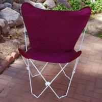 """35"""" Burgundy Retro Style Outdoor Patio Butterfly Chair with White Frame"""