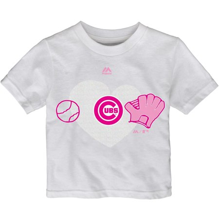 uk availability 4931f 5e9a0 Toddler Girls Majestic White Chicago Cubs Just Love Baseball ...