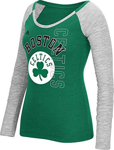 Boston Celtics Adidas NBA Women's Team Liquid Dots Long Sleeve Slub Tee by Adidas