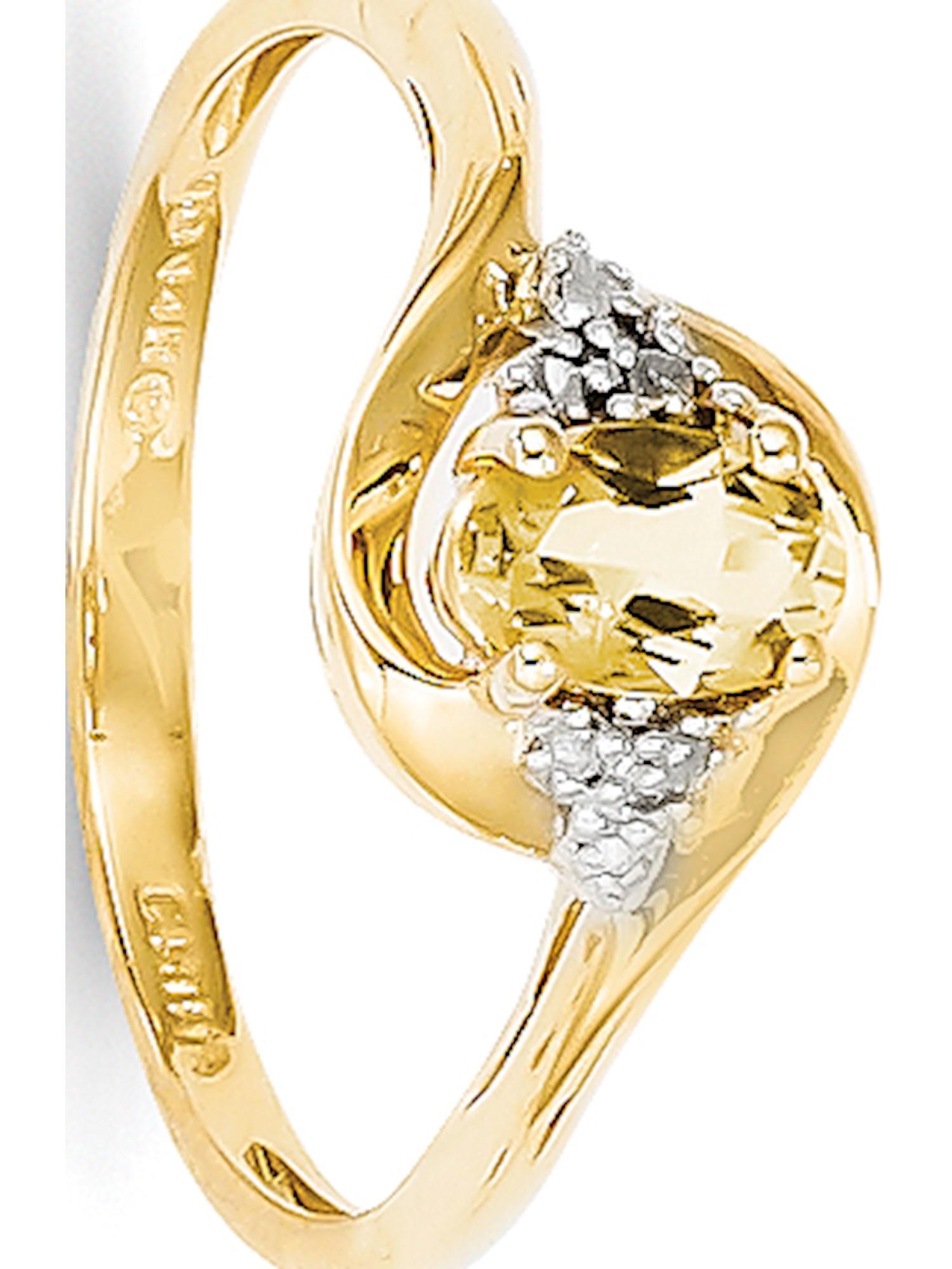 14k Yellow Gold Diamond & Citrine Ring by