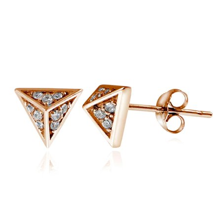 ROSE GOLD PLATED OVER STERLING SILVER CZ PYRAMID STUD EARRINGS Punk 4 Pyramid Stud