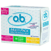 O.B. Non-Applicator Tampons, Multi-Pack - 40 Ea