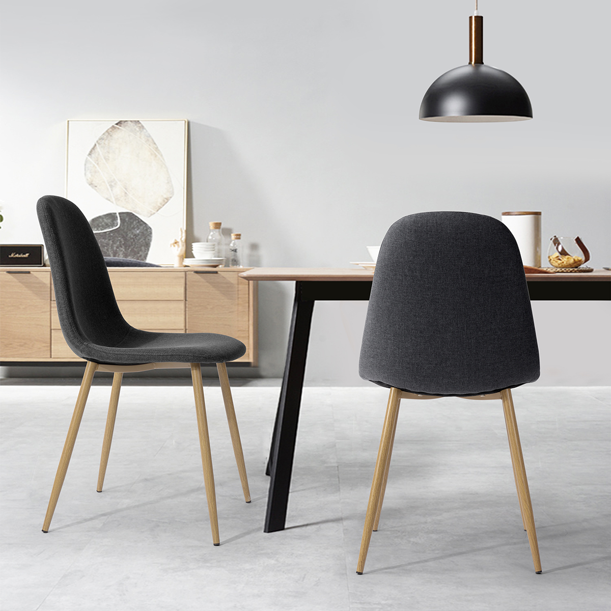 Eames Dining Chairs Set of 12 Seat for Home Kitchen Chairs Black