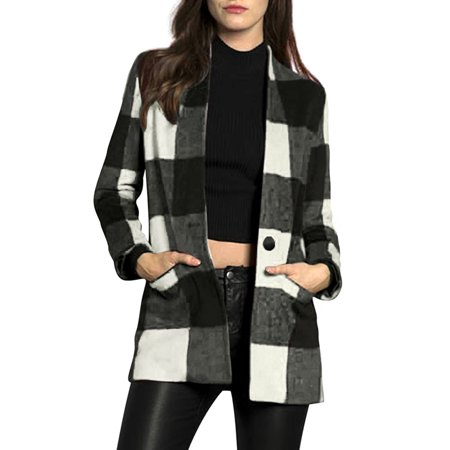 Woman Classic Plaid Button Closed Wool Worsted Coat