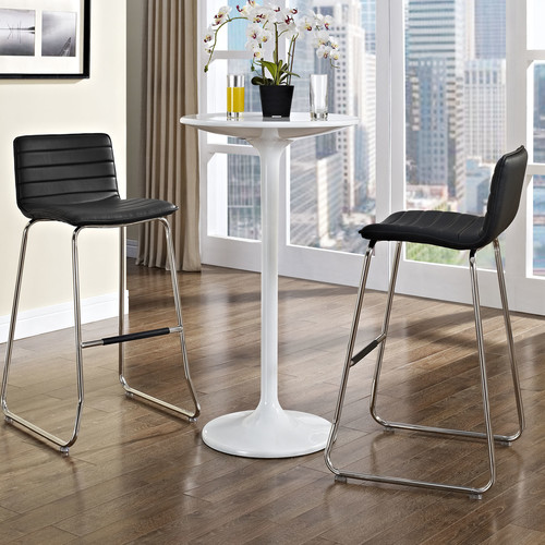 Contemporary Extra Tall Barstool in Brown - Set of 2