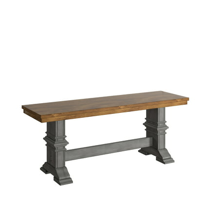 Remarkable Weston Home Farmhouse Dining Bench With Trestle Leg Multiple Finishes Beatyapartments Chair Design Images Beatyapartmentscom