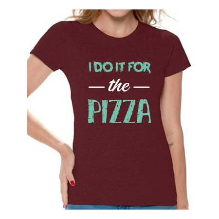 - Awkward Styles Women's I Do It For the Pizza Graphic T-shirt Tops GYM Funny Workout Saying