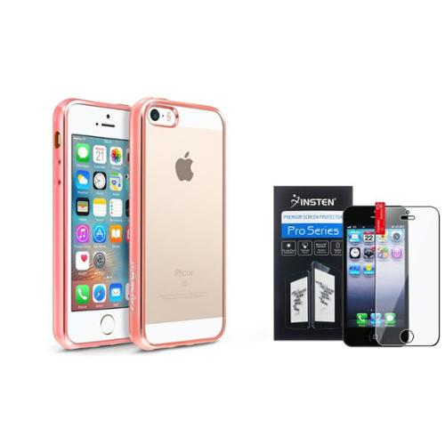 BasAcc Clear Soft TPU Back Cover with Rose Gold Chrome Edge Bumper For iPhone SE 5S 5 (+ Screen Protector)