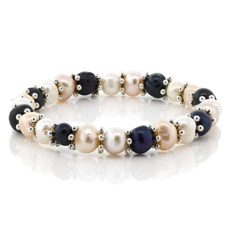 - Multi-Color Cultured Freshwater Pearl Stretchy Bracelet with Metal Spacer 18