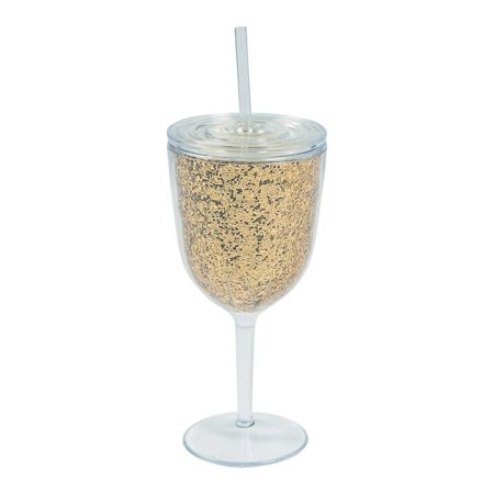 Gold Glitter Plastic Wine Glass with Lid & Straw](Plastic Wine Glasses With Lids)