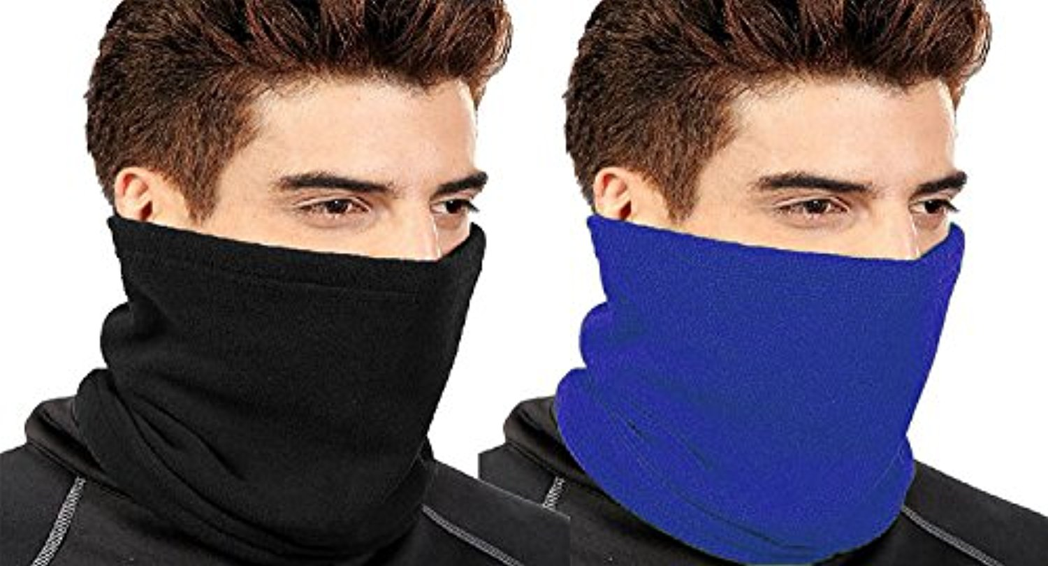 Peach Couture Thick Knit One Hole Facemask Balaclava Snowboarding Biker Mask (Black Blue) by