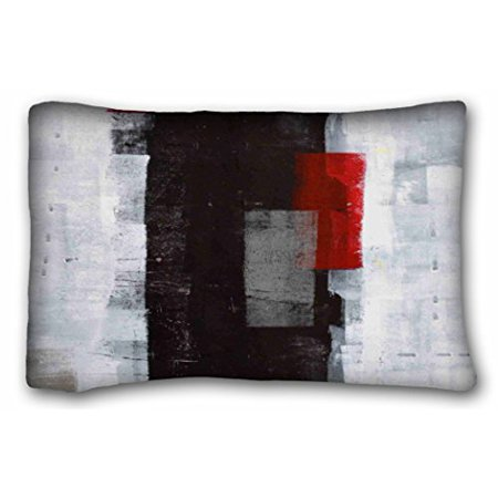 WinHome Black Grey And Red Abstract Art Pillow Cover Square Pillow Case Cushion Cover Sofa Size 20x30 Inches Two Side ()