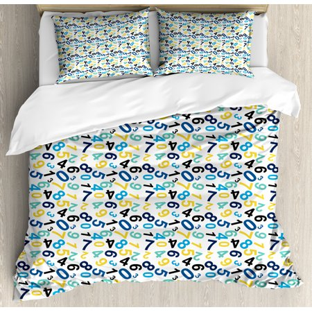 Numbers King Size Duvet Cover Set, Math Themed Numbers Pattern Algebra School Learning Education Themes Colorful Image, Decorative 3 Piece Bedding Set with 2 Pillow Shams, Multicolor, by Ambesonne