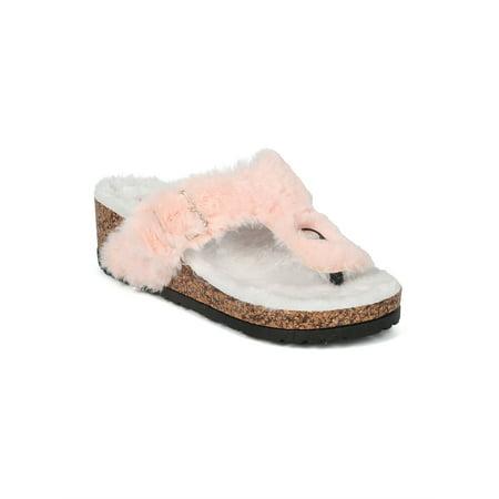 6b469807f91 Alrisqd - New Women Faux Fur Thong Faux Cork Platform Wedge Sandal - 17956  By Qupid - Walmart.com