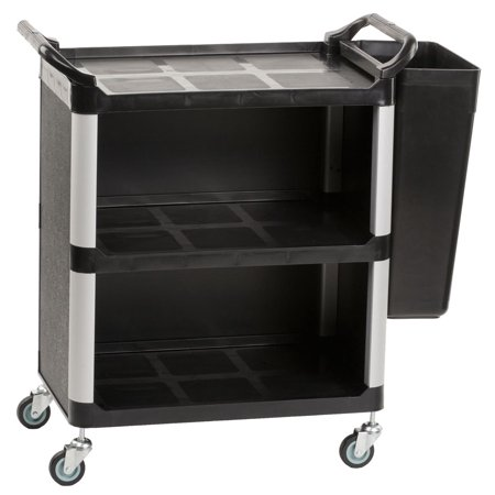 Heavy Duty Bus Cart with Rubbish Bin Attachment, Enclosed Storage Area Hides Cleaning Supplies & Dishes - Small (UC3SME1BN7) - Supply Store