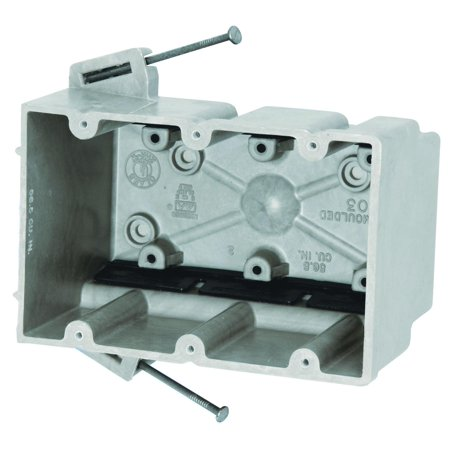 Image of Allied Moulded 3300-NK Outlet Box, 3 Gang, 46 cu-in x 3-3/4 in L x 5-11/16 in W x 3 in D