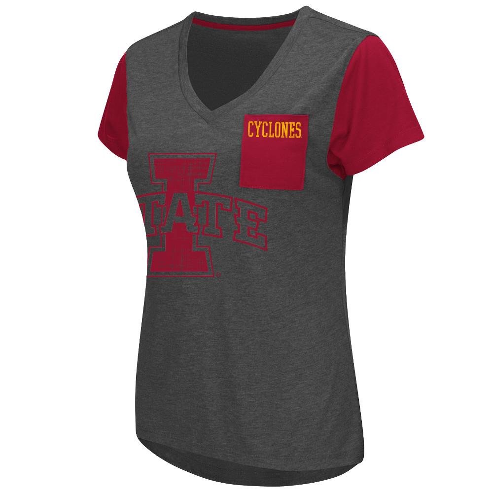 Womens NCAA Iowa State Cyclones Short Sleeve Tee Shirt (Heather Charcoal) by Colosseum