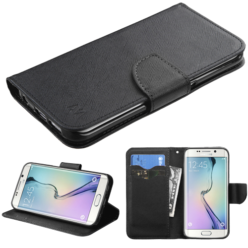 For G925 Galaxy S6 Edge Black Pattern/Black Liner MyJacket wallet +card slot